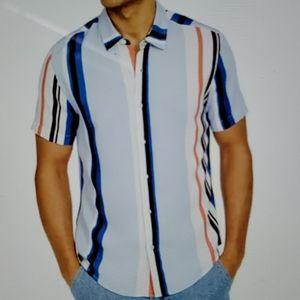 Men's Rayn Ridley Stripe Shirt by  Guess